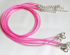 """1mm Pink Waxed Leather Rope Choker Necklace Chain for Pendant 18"""" Cord UK LT"""