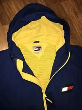 Vtg 90s Blue TOMMY HILFIGER Mens XL Hoodie Jacket Coat FLAG LOGO Windbreaker XL