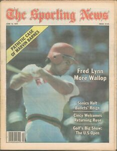 JUNE 16 1979 THE SPORTING NEWS- FRED LYNN - BOSTON RED SOX -PETE ROSE