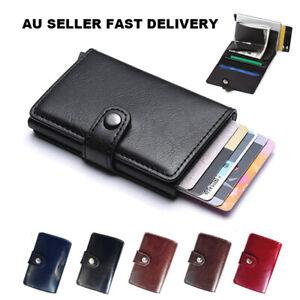 Credit Card Holder Leather Wallet RFID Blocking Pop Up Slim Aluminum Card Case