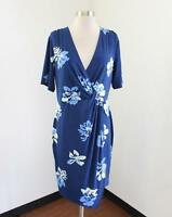 Banana Republic Womens Blue Floral Print V-Neck Draped Dress Size L Casual