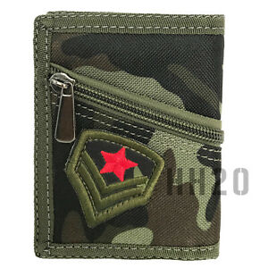 Trifold Wallet Army Camouflage Denim ID Window Card Slots Zipped Pocket Men Boys