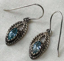 Vintage silver earrings with blue stones-topaz or aquamarine