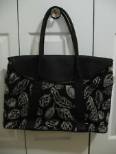 PENDLETON LEATHER / WOOL TRAVEL OVERNIGHT BAG TOTE STORM FEATHER PATTERN NEW