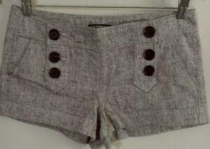 Express  Women's Sailor Short Shorts Gray Linen Blend Button Front Size 2