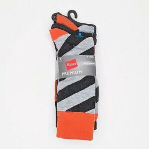Hanes Premium Socks Unisex Sz 9-12 Fall Color Fun Patterns Stripes Argile 3 Pack