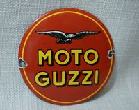 VINTAGE MOTO GUZZI PORCELAIN SIGN GAS OIL METAL STATION PUMP RARE DEALERSHIP