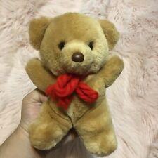 "Vintage Russ HONEY Bear 9"" Plush Teddy Bear Tan Stuffed Animal Toy Red Bow"