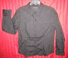 Women's Attention Long Sleeve Button Down Shirt Black Silver Threads Size L NWOT