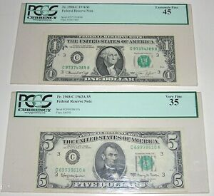 PCGS Currency Graded Federal Reserve Notes ~ 1908-C 1974 $1 ~ 1968-C 1963A $5