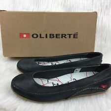 Oliberte Womens 39/9 Flats Dark Gray Fair Trade Brushed Wax Leather Ethical