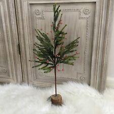 60cm Table Top Faux Fir Christmas Tree Red Bell Berries Glitter Gisela Graham