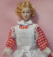 Dollhouse Miniature Doll Maid Red & White Porcelain Reutter Porcelain 1:12