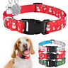 Nylon Christmas Dog Collar Boy Girl Pet Puppy Collars ID Tag Engraved XS S M L