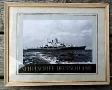 Marine: Schulschiff Deutschland - gerahmt mit original Mützenband