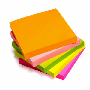 Post It Sticky Notes Reminders Self Adhesive 76mm Neon Colours Paper Memo Pads
