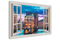 HAMBURG GERMANY 3D WINDOW BAY VIEW CANVAS WALL ART PICTURES FRAMED CITY PRINTS
