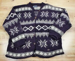 Vtg 80s UNISEX Hippy Boho Hand Made Wool Cardigan Sweater by REY WEAR  Ecuador