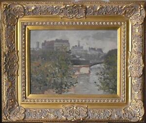 Vue du Quai de la Tournelle River Seine Paris Oil Painting B Bonello (Malta) c19