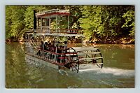 Chrome View of Fort Sequoyah, Indian Village, Boat, Livingston KY, Postcard X25