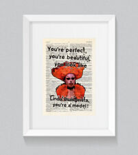 RuPaul Aja You're Perfect You're A Model Vintage Dictionary Book Print Wall Art