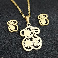 Gold Plated Dragonfly Bear Pendant Women Earrings Stainless Steel Jewelry Set