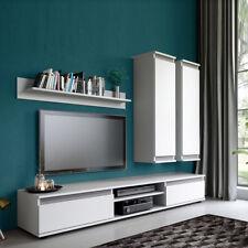 Modern Wohnwand Lazio Wohnzimmer-Set Komplett Weiß Schrankwand Anbauwand