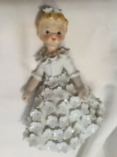 Vtg Rare Norcrest girl figurine White 3D Flowers K1