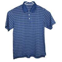 Adidas Climalite Polo Golf Shirt Mens Medium Blue White Striped Dry Wicking