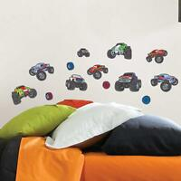 MEGA MONSTER TRUCKS 13 Wall Decals Room Decor Stickers Kids Bedroom Decorations