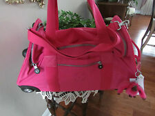"New Kipling MARCELLA 22"" Wheeled Duffle Bag Carry on travel LUGGAGE-neon pink"