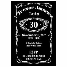 Personalised Jack Daniels Inspired Birthday Party Invitations - You Print