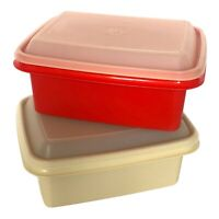 Vtg Tupperware Freez N Save Container Ice Cream Keepers Lot of 2 Red Almond Lids