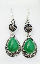 Long Green Pear Shaped Glass & Silver Tone Drop Hook Earrings Approx. 5.5cm