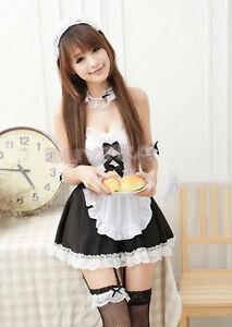 Sexy Girl's Maid Lolita Uniform Halloween Costume Dress Cosplay Outfit DSUK