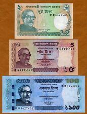 SET, Bangladesh, 2;5;100 taka, 2011-2012, P-New, UNC
