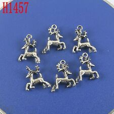 12pcs antiqued silver deer pendant H1457