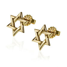 High Quality Finish 14K Yellow Gold Delicate Star Of David Judaica Stud Earrings