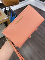 New! Michael Kors MK Jet Set Travel Double Zip Phone Wristlet Wallet Peach