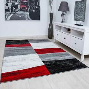 Designer Teppich Wohnzimmer Kariert Muster Meliert in Rot Grau Weiß und Schwarz