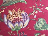 Jay Yang Jacobean 27.5 Yards Red Floral Upholstery Drapery Cotton Fabric NEW