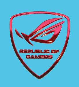 Asus Republic of Gamers Red Chrome Sticker 29 x 26.5mm ROG