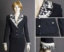 ST.JOHN COUTURE TEXTURED KNIT BLACK JACKET W/FRINGE AND LINING SIZE 2 GORGEOUS!