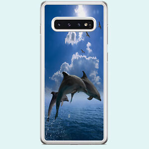 DOLPHINS SWIMMING SEA LIFE NEW CLEAR RIM PHONE CASE FITS SAMSUNG GALAXY S RANGE.