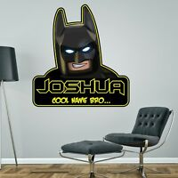 LEGO BATMAN PERSONALISED WALL STICKER children's boy's bedroom decal art 3 sizes
