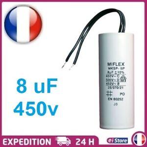 Condensateur moteur de démarrage / permanent 8µF 8uF 450V à fil