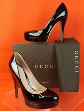NIB GUCCI BLACK PATENT LEATHER LISBETH PLATFORM PUMPS 34 4 #309999 $520