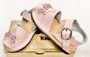 Girls Bubble Kids Spanish leather glitter star bow sandals new