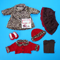 2005 Bitty Baby Chocolate Cherry Coat Hat Cardigan Skirt Set Pristine Retired