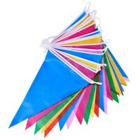 G4F7 Multicolor Polyester Bunting Banner Double Sided Indoor/ Outdoor Party 10m